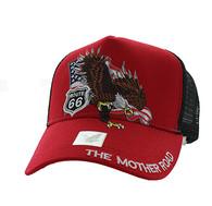 VM483 Route 66 Eagle Mesh Trucker Cap (Red & Black)