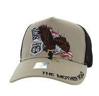 VM483 Route 66 Eagle Mesh Trucker Cap (Khaki & Black)