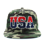 SM369 USA Star Snapback (Solid Military Camo)