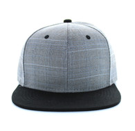 SP030 Blank Cotton Snapback (Grey & Black)