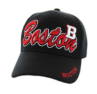 VM144 Boston City Velcro Cap (Solid Black)