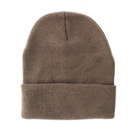 "WB080 Plain 12"" Long Beanie (Solid Brown)"