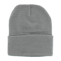 "WB080 Plain 12"" Long Beanie (Solid Light Grey)"