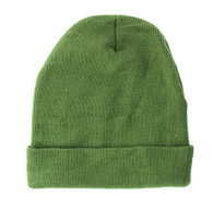 "WB080 Plain 12"" Long Beanie (Solid Olive)"