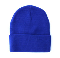 "WB080 Plain 12"" Long Beanie (Solid Royal Blue)"