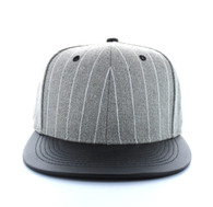 SP041 Blank Cotton Snapback Cap (Grey & Black)