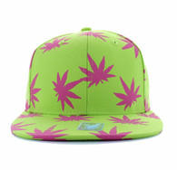 SM312 Blank Marijuana Cotton Snapback (Lime & Hot Pink)