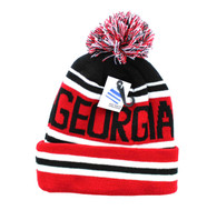 WB071 Georgia State Pom Pom Beanie (Black & Red)