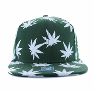 SM312 Blank Marijuana Cotton Snapback (Dark Green & White)