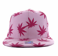 SM312 Blank Marijuana Cotton Snapback (Light Pink & Hot Pink)