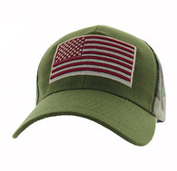 VM367 American USA Flag Velcro Cap (Olive & Hunting Camo)