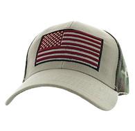 VM367 American USA Flag Velcro Cap (Khaki & Hunting Camo)