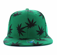 SM312 Blank Marijuana Cotton Snapback (Kelly Green & Black)