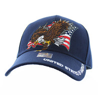 VM516 American USA Eagle Velcro Cap (Solid Navy)