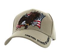 VM516 American USA Eagle Velcro Cap (Solid Khaki)