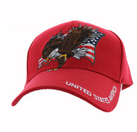 VM516 American USA Eagle Velcro Cap (Solid Red)