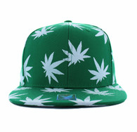 SM312 Blank Marijuana Cotton Snapback (Kelly Green & White)