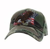 VM516 American USA Eagle Velcro Cap (Solid Military Camo)