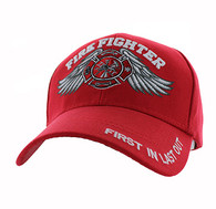 VM519 Fire Fighter Velcro Cap (Solid Red)