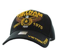 VM515 Vietnam Veteran Velcro Cap (Solid Black)