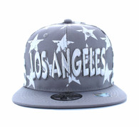 SM395 Los Angeles Star Cotton Snapback (Light Grey & White)