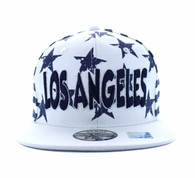 SM395 Los Angeles Star Cotton Snapback (White & Navy)