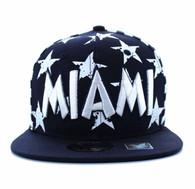 SM395 Miami Star Cotton Snapback (Navy & White)