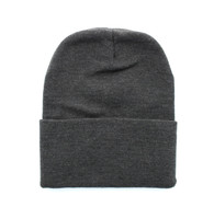 "WB080 Plain 12"" Long Beanie (Solid Charcoal)"