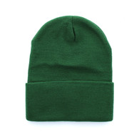 "WB080 Plain 12"" Long Beanie (Solid Dark Green)"