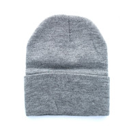 "WB080 Plain 12"" Long Beanie (Solid Heather Grey)"