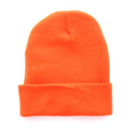 "WB080 Plain 12"" Long Beanie (Solid Orange)"