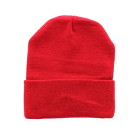 "WB080 Plain 12"" Long Beanie (Solid Red)"