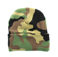 "WB080 Plain 12"" Long Beanie (Solid Military Camo)"