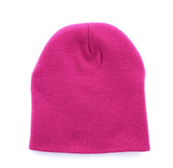 "WB090 Plain 8"" Short Beanie (Solid Hot Pink)"