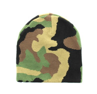 "WB090 Plain 8"" Short Beanie (Solid Military Camo)"