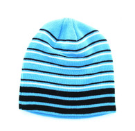 "WB090 Plain 8"" Short Beanie (Sky Blue & Stripe)"
