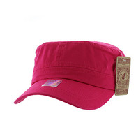BP081 Washed Cotton Castro Caps (Solid Hot Pink)