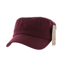 BP081 Washed Cotton Castro Caps (Solid Burgundy)