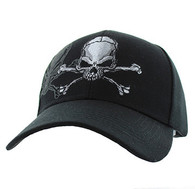 VM021 Skull Velcro Cap (Solid Black)