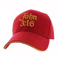 VM316 Chapter 3 Verse 16 of the Gospel of John Velcro Cap (Solid Red)