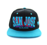 SM139 San Jose City Snapback (Black & Sky Blue)