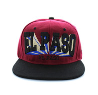 SM139 El Paso City Snapback (Burgundy & Black)