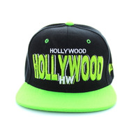 SM142 Hollywood City Snapback (Black & Lime)
