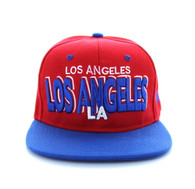 SM142 Los Angeles City Snapback (Red & Royal Blue)
