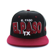 SM142 El Paso City Snapback (Black & Burgundy)