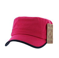 BP084 Washed Cotton Castro Caps (Solid Hot Pink)