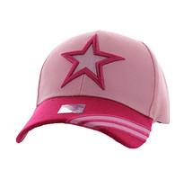 VM235 Big Star Velcro Cap (Light Pink & Hot Pink)