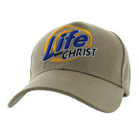 VM006 Life With Christ Velcro Cap (Solid Khaki)