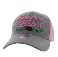 VM205 Super Bitch Velcro Cap (Light Grey & Light Pink)
