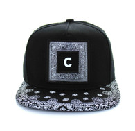 SM404 Chicago City Snapback (Black & Black Bandana)
